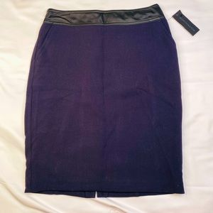 Size 4 Navy Pencil Skirt with Faux Leather Band